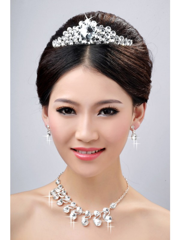 Very Charming Alloy Clear Crystals Wedding Headpieces Necklaces Earrings Set