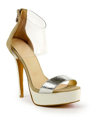 Damen Stiletto-Absatz Patent Leather Peep Toe Platform Sandalenschuhe