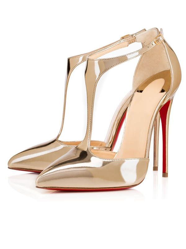 Damen Patent Leather Closed Toe Stiletto-Absatz Gold Sandalenschuhe