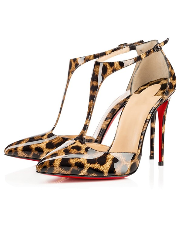 Damen Leopard Print Patent Leather Stiletto-Absatz Sandalenschuhe